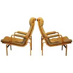 Bruno Mathsson Designed for DUX Mid Century Modern Pair of 'Ingrid' Lounge Chair