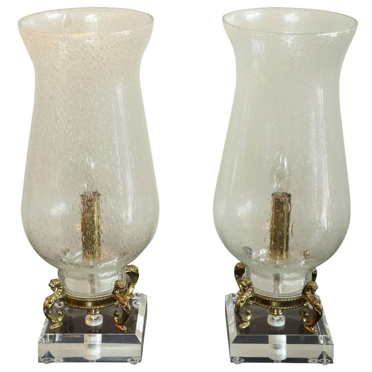 Pair Of Seeded Glass Electrified Hurricane Lamps For Sale