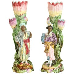 Pair of Late 19th Century French Majolica Figurines