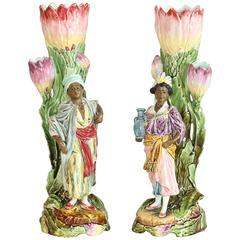 Pair of Late 19th Century French Majolica Blackamoor Figures