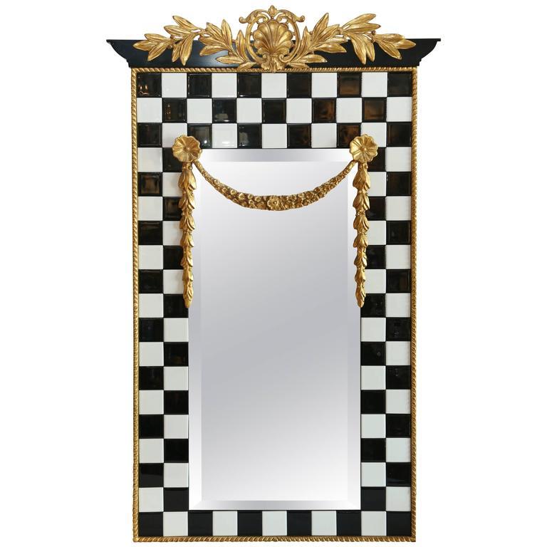 black and white tile framed mirror for sale at 1stdibs. Black Bedroom Furniture Sets. Home Design Ideas
