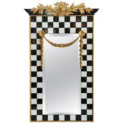 Black and White Tile Framed Mirror