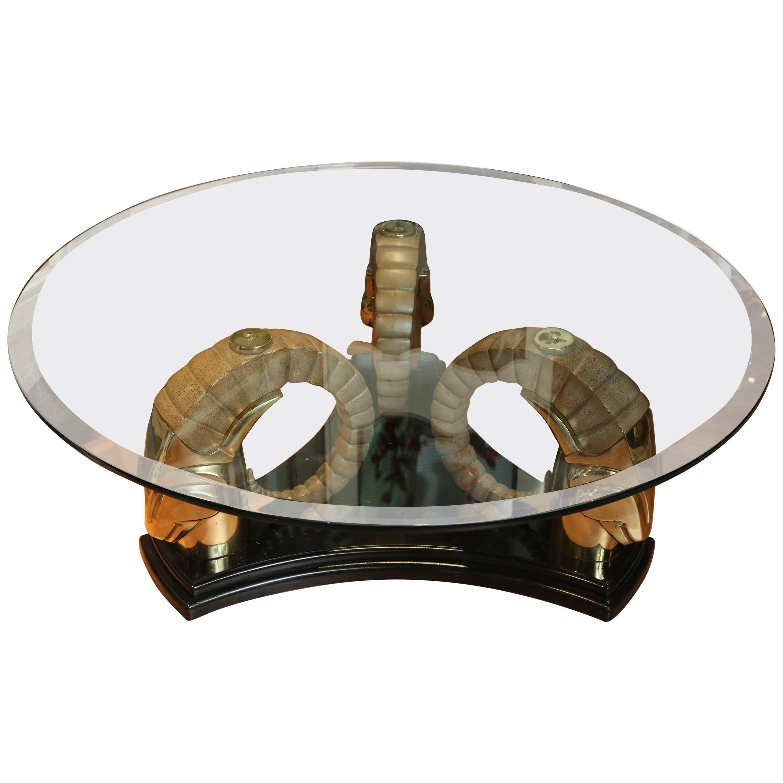 Mid-Century Ram's Head Coffee Table