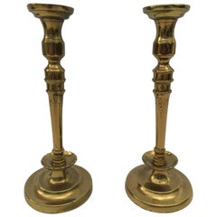 Pair of French 19th C. Hand Tooled Brass Candlesticks