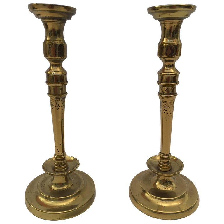 Pair of French 19th C. Hand Tooled Brass Candlesticks For Sale