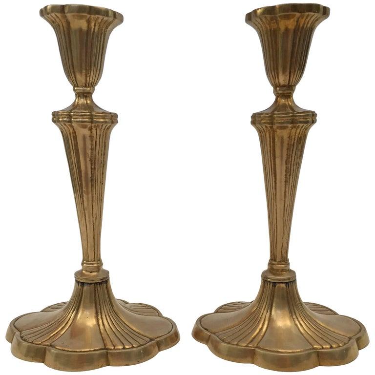 Pair of Art Nouveau Brass Candlesticks For Sale