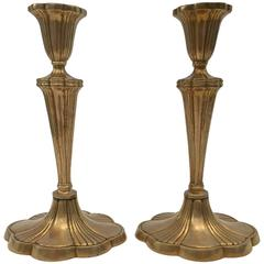 Pair of Art Nouveau Brass Candlesticks