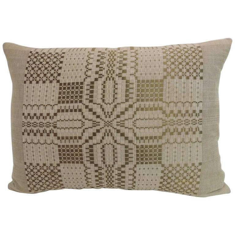 HOLIDAY SALE: Antique Coverlet Americana Woven Decorative Pillow For Sale
