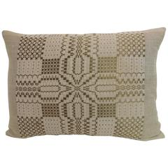 HOLIDAY SALE: Antique Coverlet Americana Woven Decorative Pillow