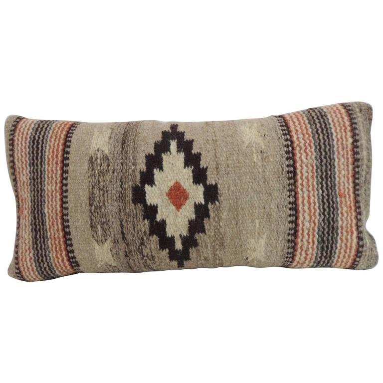 Vintage Petite Southwestern Woven Wool Decorative Lumbar Pillow For Sale at 1stdibs