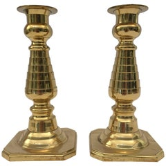 Pair of Victorian Polished Brass Candlesticks