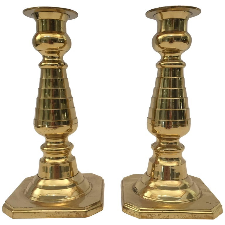Pair of Victorian Polished Brass Candlesticks For Sale