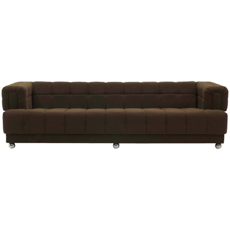 Even Arm Tufted Chesterfield Sofa 1970s New Upholstery