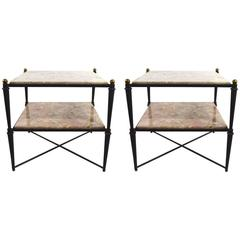 Pair of Neoclassic Marble-Top Tables