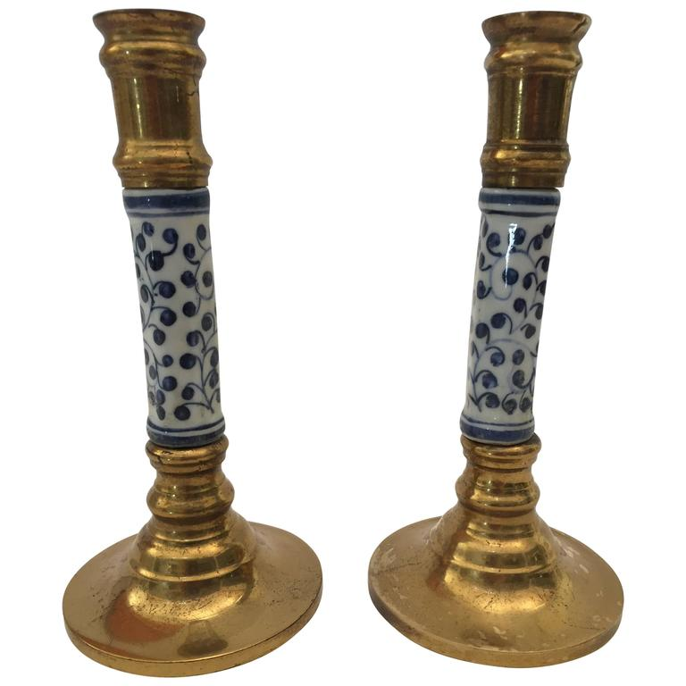 Pair of Victorian Brass Candlesticks with Ceramic For Sale