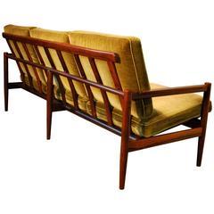Børge Jensen Designed Rosewood Slat Back Sofa with Upholstered Cushions