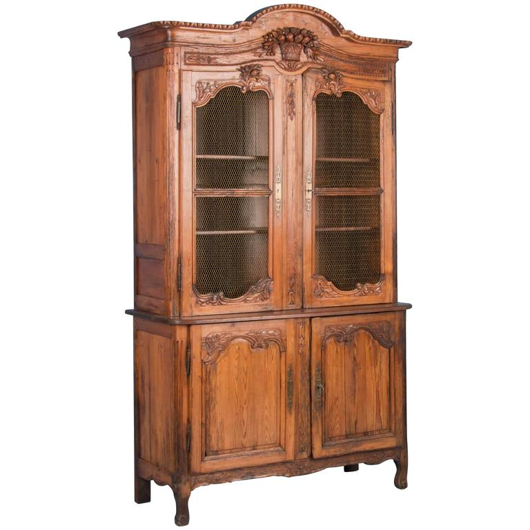 Antique 19th Century Hand-Carved French Provincial Bookcase Cabinet For Sale