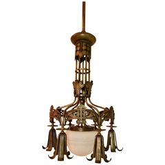 Rare and Beautiful French Art Nouveau Bronze Chandelier with Seven Lights