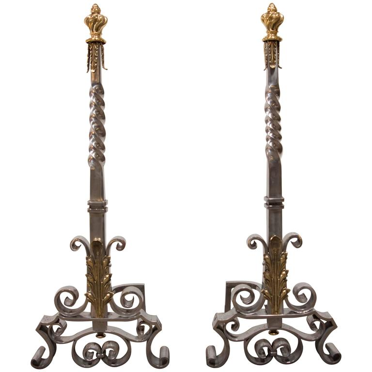 Spectacular Pair of Andirons Attributed to Gilbert Poillerat 1