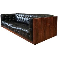 Milo Baughman-Style Rosewood and Leather Case Sofa