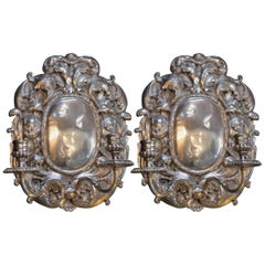 Pair of Bronze Silver Plated Candelabra Sconces