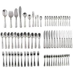 Cohr Old Danish Complete Silver Cutlery with Ten Different Serving Pieces