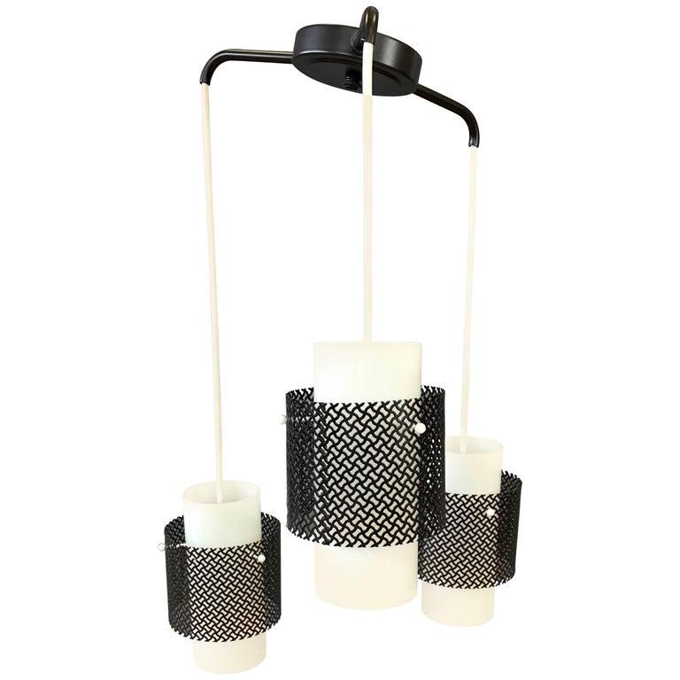 Mid-Century Modern Triple Pendant Ceiling Light Fixture For Sale