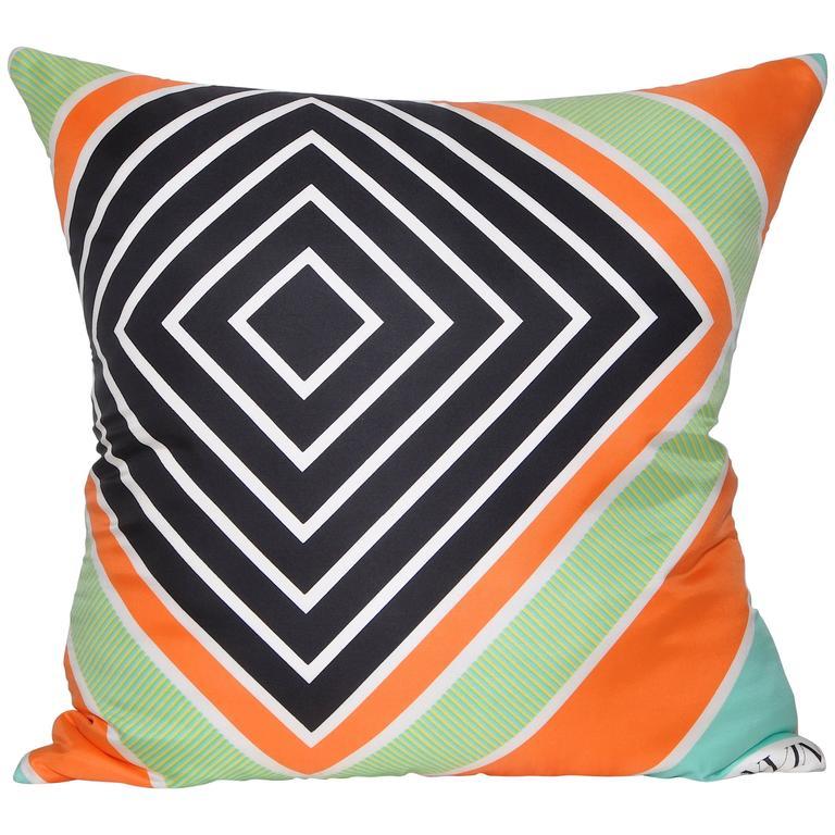 Vintage Lanvin Geometric Silk Scarf with Irish Linen Cushion Pillow