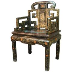 Beautiful & Rare Chinese Gilt Polychrome Decorated Black-Lacquered Throne Chair