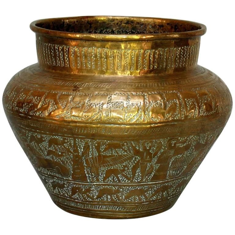Large Terracotta Vessel with Basket Weave Pattern, Manifattura Di ...