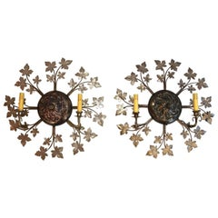 Rare and Beautiful Large Flower Sconces in the Shape of the Sun
