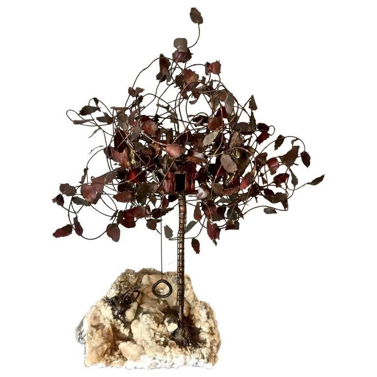 Geode Brass Tree Sculpture