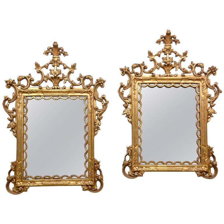 Pair of Carved Gilt Wood Italian Baroque Style Mirrors 1