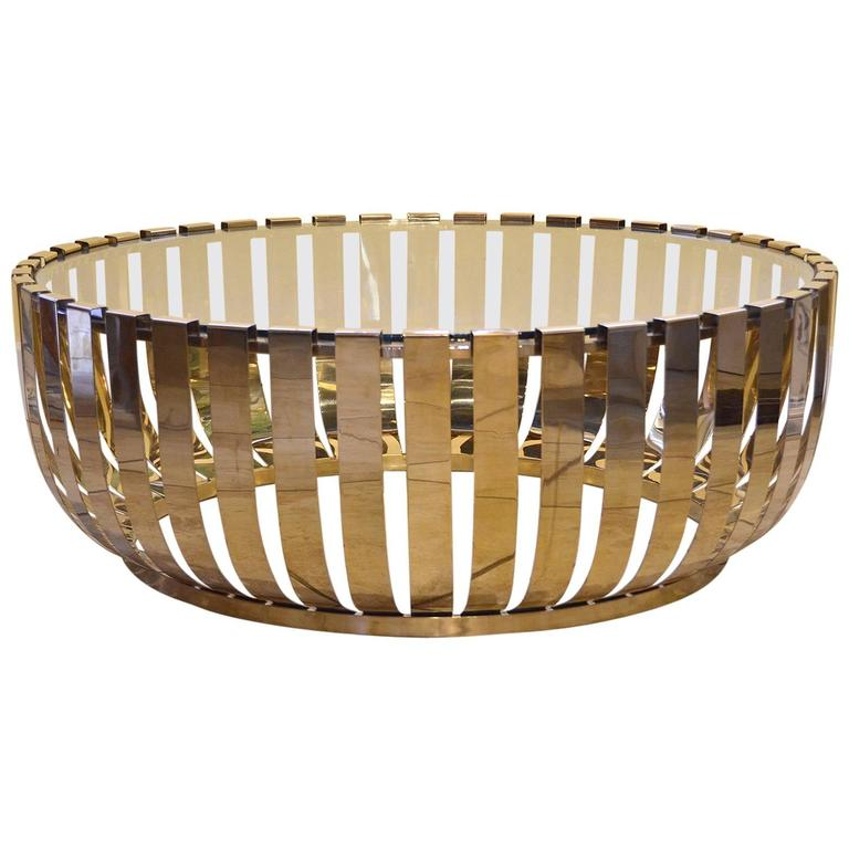 Modern round brass glass top coffee table for sale at 1stdibs for Round glass coffee tables for sale