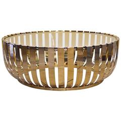 Modern Round Brass Glass Top Coffee Table