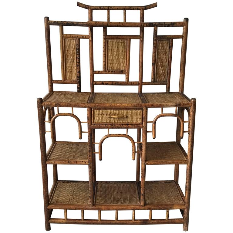 1960s Bamboo and Rattan Pagoda Étagère Plant Stand