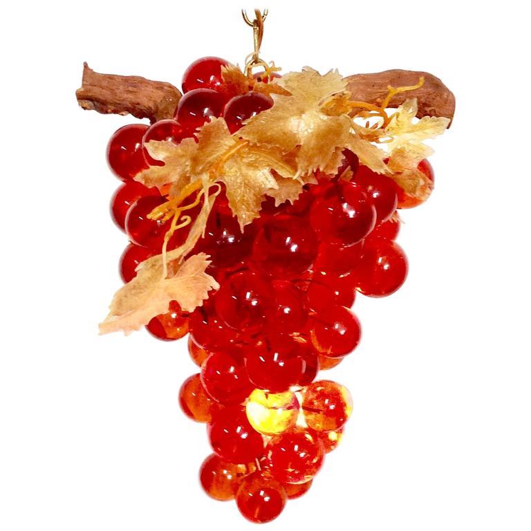 Mid-Century Lucite Grape Bunch Hanging Light Pendant-Chandelier