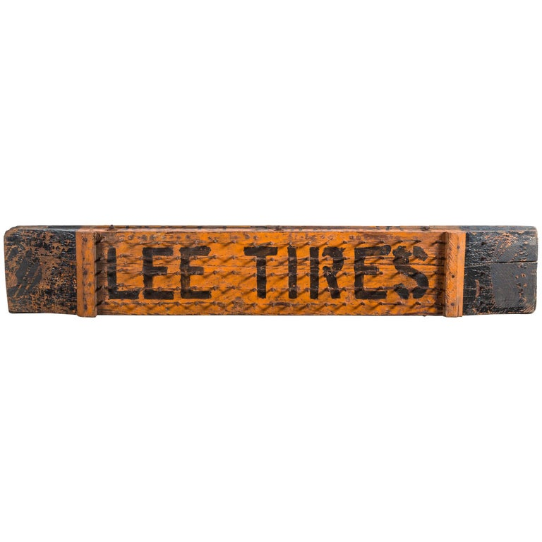 Early 20th Century Lee Tires Puncture Proof Trade Sign For Sale