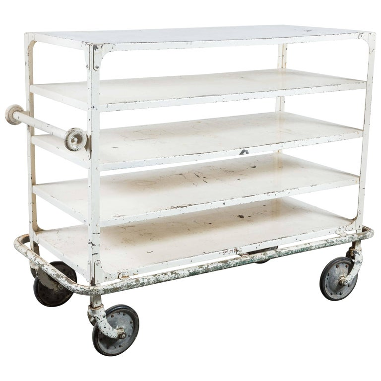 Early 20th Century White Iron Industrial Cart 1