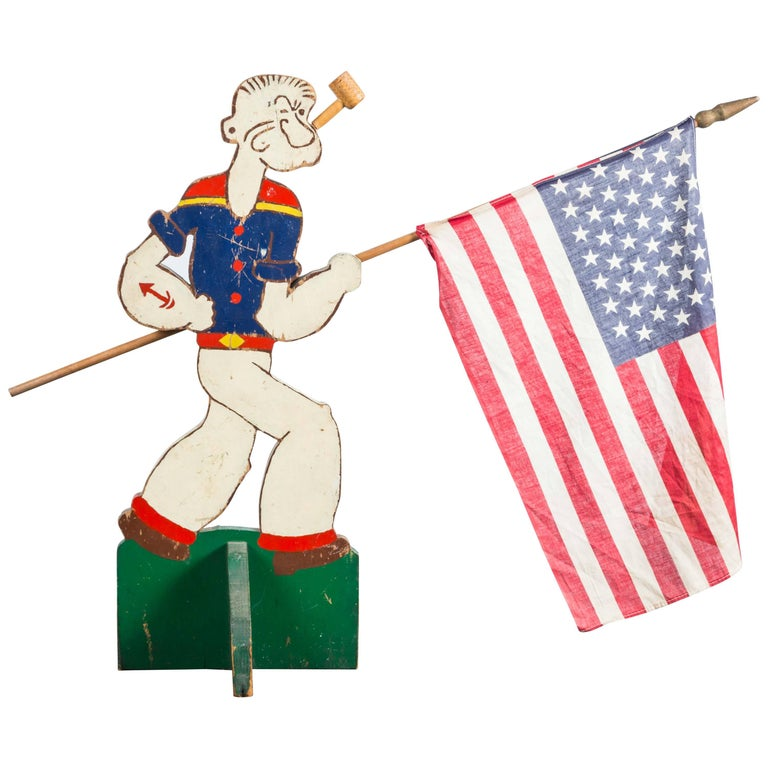 Folk Art Popeye The Sailor Flag Display, circa 1940s 1