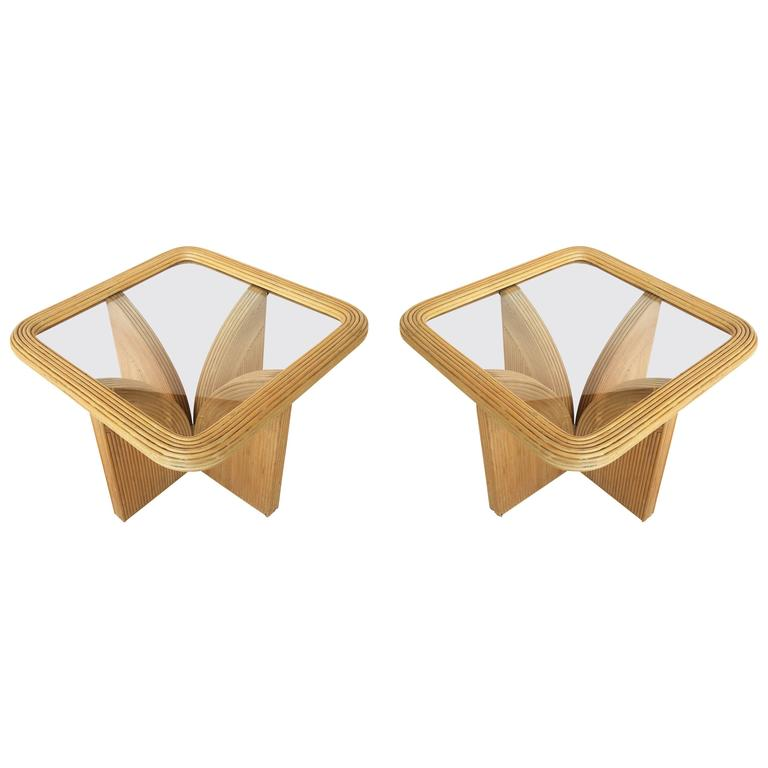 Pair of Pencil Bamboo Side Tables