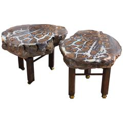 Boulder Opal Side Tables, Pair