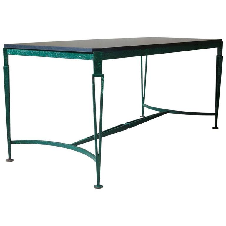 French 1940s Art Deco Iron and Granite Table For Sale