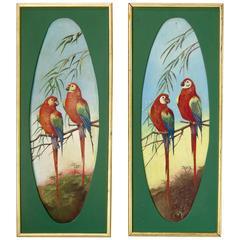 Pair of Decorative Parrot Paintings, France, circa 1920s