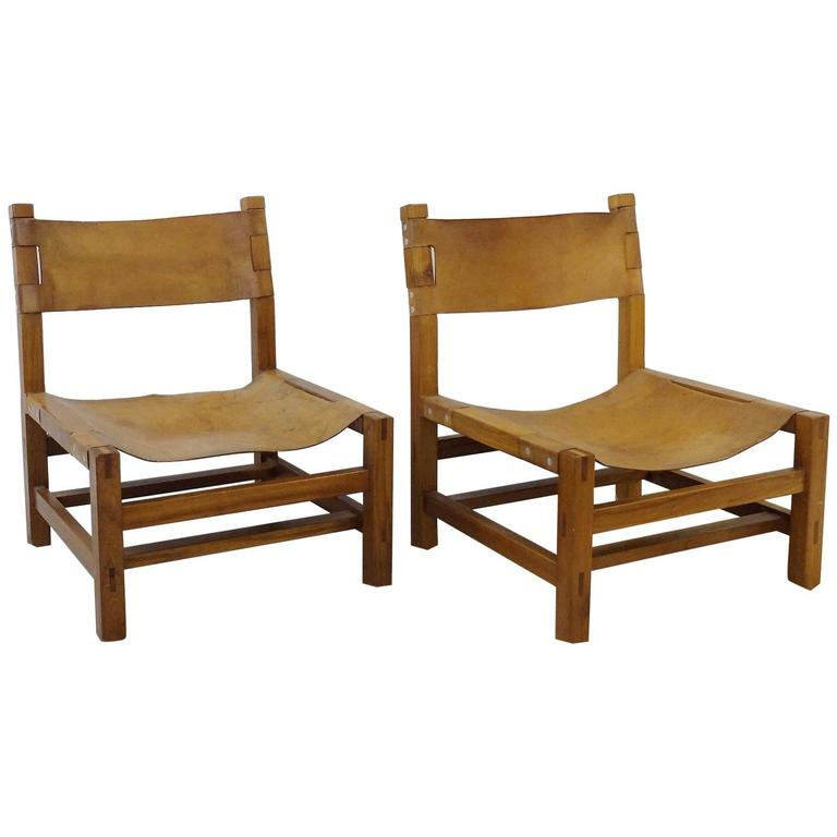 Pair of Solid Elm and Cognac Leather Low Chairs by Maison Regain - Circa 1970