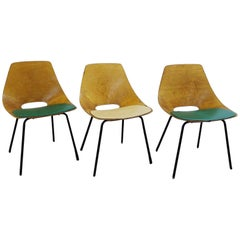 """Set of Three Pierre Guariche """"Tonneau"""" Bentwood Chairs for Steiner Edition, 1954"""