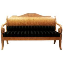 Early 19th Century Russian Biedermeier Sofa in Birchwood