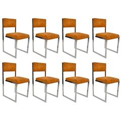 1970s Set of Eight Chromed Steel Chairs