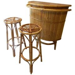 Beautiful Set of Italian Wicker Bar and Two Stools, circa 1960