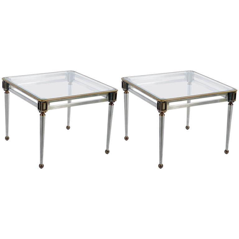 Pair of Mid-Century Italian Steel and Brass Side Table by Banci